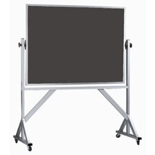 Reversible Free Standing Chalk Board with Clear Satin Anodized Aluminum Frame in Green/Slate