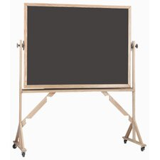 Reversible Free Standing Chalk Board with High Gloss lacquered Frame in Green/Slate
