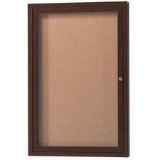 Enclosed Aluminum Bulletin Board with Wood Look Finish