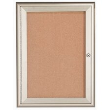 Enclosed Bulletin Board with Aluminum Waterfall Style Frame