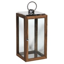 Wood, Metal and Glass Candle Lantern