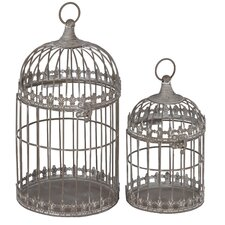 Metal Birdcage Candle Holder (Set of 2)