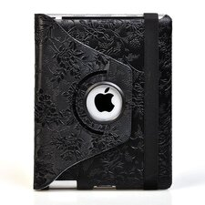 Ipad 2 and Ipad 3 Embossed Flower Rotating Case