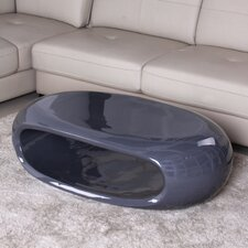 <strong>Fox Hill Trading</strong> Glossy Functional Oval Coffee Table