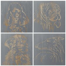 Dog Four Piece Graphic Art Plaque (Set of 4)