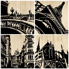 Paris City 4 Piece Graphic Art Plaque (Set of 4)