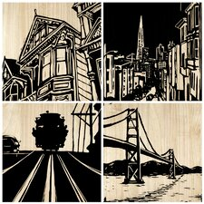 San Francisco City 4 Piece Graphic Art Plaque Set