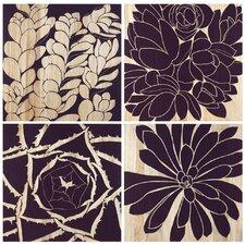 Succulent 4 Piece Graphic Art Plaque Set