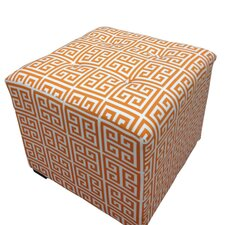 Amelia Chain Square Cotton Tufted Cube Ottoman