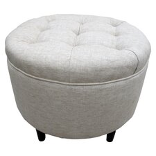 Round Cotton Button Tufted Ottoman