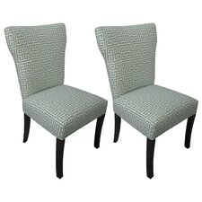 Melrose Chain Wingback Cotton Slipper Chair (Set of 2) (Set of 2)