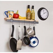 RACK IT UP! Wall Mounted Bar and Bamboo Shelf Pot Rack