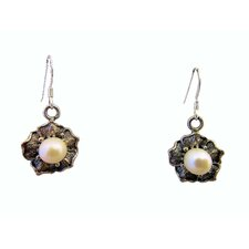 Floral Cultured Pearl Drop Earrings