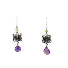 Butterfly Amethyst Drop Earrings