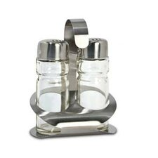 Salt and Pepper Shakers with Caddy in Brushed Satin