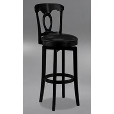 Corsica Swivel Bar Height Barstool with Vinyl Seat in Black