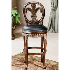 "Fleur De Lis 25"" Swivel Bar Stool with Cushion"