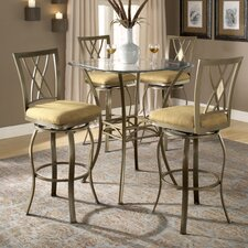 Brookside Bar Height Glass Bistro Table with Diamond Back Swivel Bar Stools