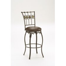 "Lakeview 30"" Swivel Barstool with Diamond Motif in Brown"