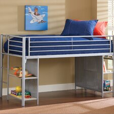 Universal Junior Twin Low Loft Bed with Desk and Built-In Ladder