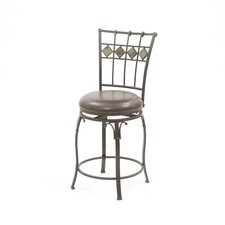 "Lakeview 24"" Counter Stool with Diamond Motif in Brown"