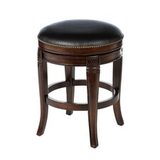 Montello Backless Wood Swivel Stool in Dark Tobacco