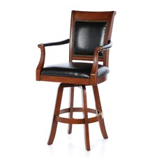 Kingston Game Swivel Leather Back Barstool
