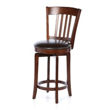 "Canton 24.5"" Swivel Counter Stool with Vinyl Seat in Brown"
