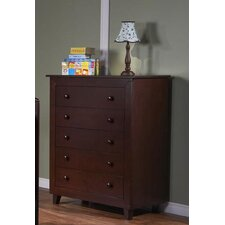 Gala 5-Drawer Chest in Mocacchino