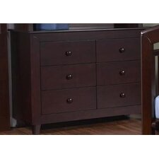 Gala Double 6-Drawer Dresser in Mocacchino