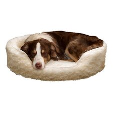 Snuggle Round Fur Bolster Dog Bed