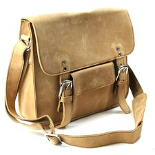 "15"" Cowhide Leather Simple Messenger Bag"