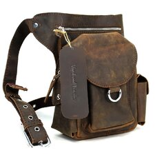 "10"" Cowhide Leather Fashion Waist Fanny Pack"