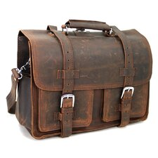 "18"" Leather Briefcase Backpack"