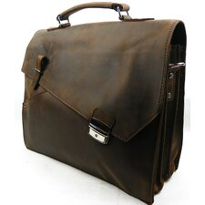 <strong>Vagabond Traveler</strong> Skrek Leather Laptop Briefcase