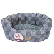 40 Winks Check Oval Sleeper Dog Bed in Grey