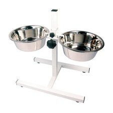 Feeding Adjustable Double Diner Dog Bowls