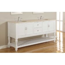 "70"" Oak Shutter Double Sink Bathroom Vanity Set"