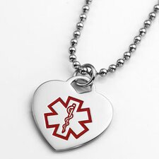 Diabetes Stainless Steel Medical Alert Heart Pendant