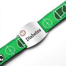 Children's Diabetes Soccer Sport Strap ID Bracelet