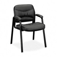 Leather Chair with Leg Base and Padded Arms