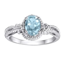 Sterling Silver Oval Cut Blue Topaz Ring