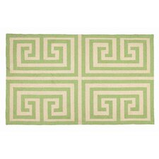 Greek Key Green Geometric Area Rug