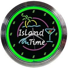 "<strong>Neonetics</strong> 15"" Island Time Neon Clock"