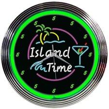 """15"""" Island Time Neon Clock"""