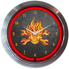 "15"" Mechanic Fire Skull And Wrenches Neon Clock"