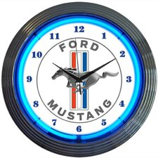 "15"" Ford Mustang Blue Neon Clock"