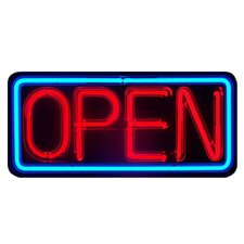 Open with Plastic Case Neon Sign