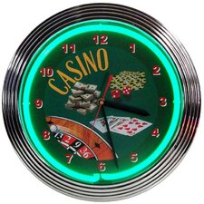 Poker Casino Neon Clock