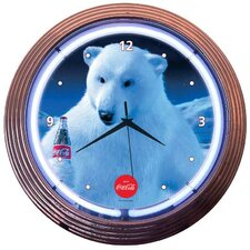"Drinks 15"" Coca Cola Polar Bear Wall Clock"